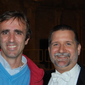 Josu Camacho and Scott Ferguson, conductor of Illinois Wesleyan University Collegiate Choir- Spain Concert Tour 2008